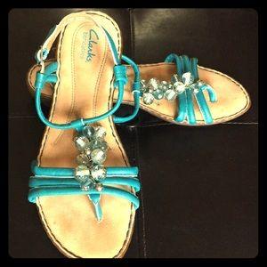 Turquoise Clark's bendables sandals. Size 8,5 M